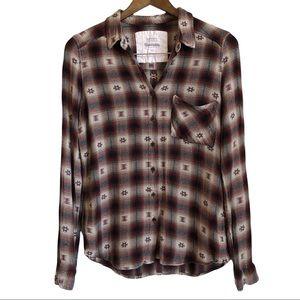 BLUENOTES Boho Western Plaid Casual Button Down Long Sleeve Shirt Top Tan